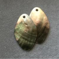 "Кулоны из черного перламутра ""Лист"" (10 шт.) (301), 31х50 мм"