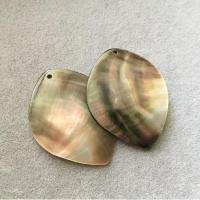"Кулоны из черного перламутра ""Лист"" (10 шт.) (303), 38х52 мм"