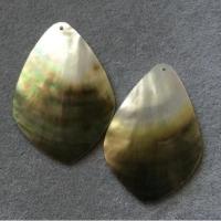 "Кулоны из черного перламутра ""Лист"" (10 шт.) (302), 41х58 мм"