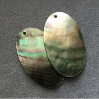 "Кулоны из черного перламутра ""Овал"" (10 шт.) (125), 30х50 мм"